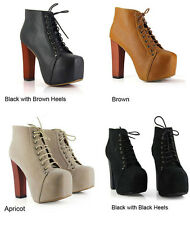 HOT Women Ladies Fashion Lita platforms high heels Lace Up boots Ankle shoes