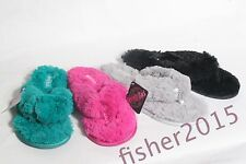 New Women's Plush Cozy House Slippers Flip Flops, Black, Green, Fuchsia and Gray