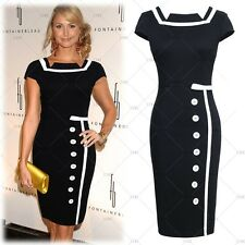 Women's Dress Navy Black Sailor Nautical Pinup Vintage Retro Pencil Dresses
