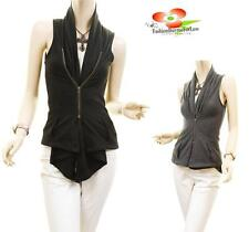 Women Boho Cotton Knit Asymmetric Vest Cardigan Gather fitted Zip Sleeveless Top