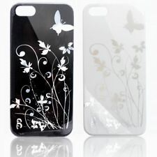 FLOWERS BUTTERFLY HIGH GLOSSY SHINY HARD BACK COVER CASE FOR APPLE IPHONE SE 5S