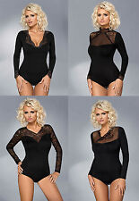 Gorgeous Ladies Stretch & Lace Long Sleeve Bodysuit  size S - XXL by Vestiva