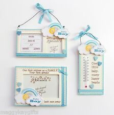 BABY BOY,  BLUE - Wooden Birth Details Photo Frame, Nursery Temperature Guage
