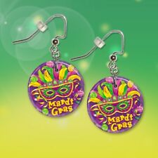 "**MARDI GRAS** Choice of 1"" Button Dangle Earrings **FREE PIN** ~~USA Seller"