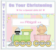 Baby Girl Christening Gift, nursery rhymes CD, Personalised present for girls