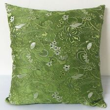 "Cushion Cover Chinese Brocade Pillow Case ""Swirl Flower on Dark Kiwi"""