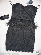 NWT bebe black isis XS S M L lace feather top skirt dress strapless peplum party
