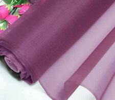 By 0.5 Yard Light Weight 100% Pure Silk Organza Fabric Material Wine Voile Sheer