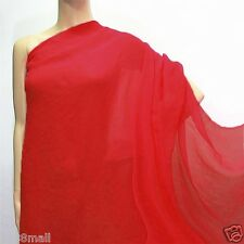 0.5 Yard (Poppy Red) Pure Silk Georgette Sheer Crepe Chiffon Fabric 140cm(#221)
