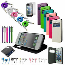 8in1 Luxury PU Leather Flip Stand Cover Case for iPhone 5S, 5 Pen Film Headphone