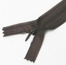 "Dark Brown 10"" / 25.5cm. Closed End Invisible Zipper by 10 Zippers"