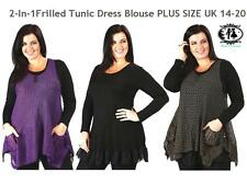 PLUS LARGE SIZE 18 -20 LADIES 2IN1 TUNIC DRESS + VEST TOP BLOUSE OVERSIZE JUMPER
