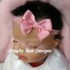 PINK DAINTY HAIR BOW LACE HEADBAND NEWBORN INFANT BABY PREEMIE Super Cute ON