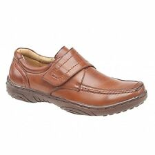 Mens Leather Lined Comfy Velcro Bar Office Formal Casual Loafers Shoes Tan Brown