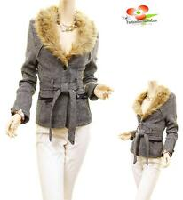 Women Wool Faux Fur Tweed Outerwear Belted Trench Coat Peacoat Blazer Jacket