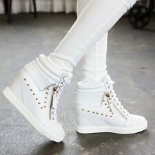 Womens Gold Studded Zipper Hidden Wedge High Top Sneakers Ankle Trainers