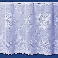 LOVE BIRDS DOVES PREMIUM QUALITY CAFE NET CURTAIN IN WHITE - SOLD BY THE METRE