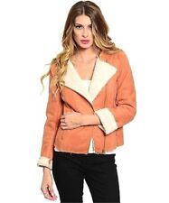 Celebrity Women Faux Shearling Suede Leather Fitted Outerwear Motor Jacket Coat
