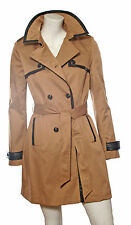 Ladies Ex-Chain Store Beige Mac with Leather Trim Detail Fully Lined with Belt