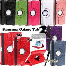 "Rotating Stand Crocodile Leather Case Cover for Samsung Galaxy Tab 2 7.0 "" 10.1"""
