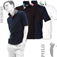 Henbury - H283 - Mens Two colour Striped Under Collar Polo Shirt (3 Variations)