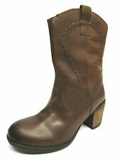 Ladies Hush Puppies Tan Leather Cowboy Style Mid Calf Boots MOORLAND WESTERN