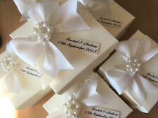 Vintage Lace and Pearls Personalised Wedding Favours - Empty or Filled -10cm Box