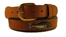 Zep-Pro Embroidered Leather Canvas Belt   LARGE MOUTH BASS   NWT pick your size