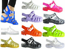 LADIES WOMENS GIRLS SUMMER RETRO TREAD SOLE JELLY CASUAL BEACH SANDAL SHOE SIZES