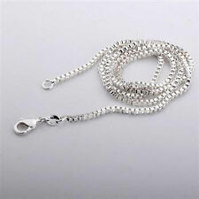 """#1   9.25 Silver BOX Chains Necklace 2mm Width 16 TO 30"""" Length"""