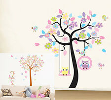 2 style Colorful Tree Owl Vinyl Kids Room Removable Wall Stickers Decal Poster
