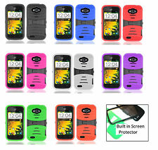 For ZTE Savvy Z750C Rugged Stand Hybrid Case With BUILT in Screen Protector