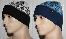 Hurley DONNER Men's Snowflake Skull Cuffed Beanie Hat Sz OS **REDUCED