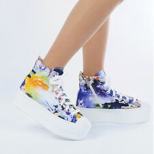 New Womens Heel High Top Platform Art Printed Lace Up Fashion Sneakers_Blue