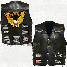 Mens Black Leather Motorcycle Vest Waistcoat with 14 Biker Patches Live To Ride