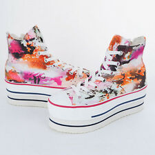 New Womens CN9 Art Printed Heel High Top Platform Fashion Sneakers Shoes_Red
