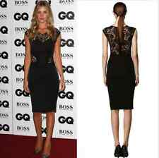 DS01 Womens Ladies Black Sexy Lace Bodycon Evening Party Dress
