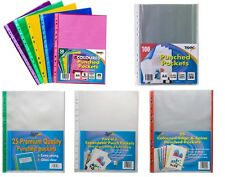 A4 A3 A2 Punch Punched Pockets Filing Clear Display Sleeves Ring Binder Folders