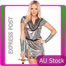 Ladies Heroes Queen Metal Xena Gladiator Warrior Halloween Fancy Dress Costume