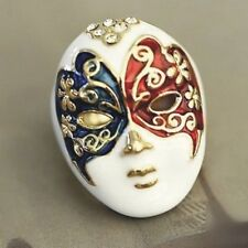 Fashion Retro Facebook Mask Ring Golden Silvery R007