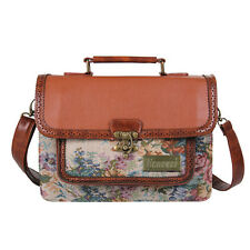 Ecosusi Hollow Out Leather Satchel Briefcase Vintage Style Weave Messenger Bags