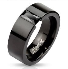 Stainless Steel Men's Black Squared Band Ring/Rectangular CZ Size 5-14(M2620)