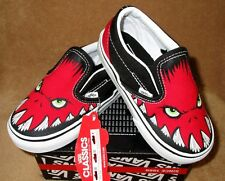 NEW VANS CLASSIC SLIP ON MONSTER SHOE RED/BLACK TODDLER  4, 4.5, 5