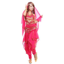 Belly Dance Costume Top & Gold Wavy Pants Bloomers & Hip Scarf Set Wrap Skirt