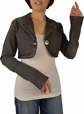 BNWT: Womens sizes:S-XL  Jean Denim Cropped Stretch Jacket With Button Closure