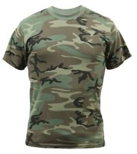 t-shirt camo woodland camouflage washed for vintage style and feel  rothco 4777