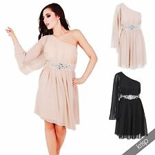 Womens Ladies One Off Shoulder Chiffon Diamante Cocktail Party Dress Evening