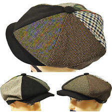 New Quality Patchwork Newsboy 8 Panel AppleJack Driving Cap Hat W/Extended Visor