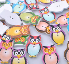 E578 Mix Color Wood Owl Accessories Button Craft Sewing 20x32mm 40/200pcs