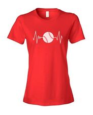 Heart Beats Baseball Softball Woman's Ladies' Fashion Fit T-Shirt Shirt Top
